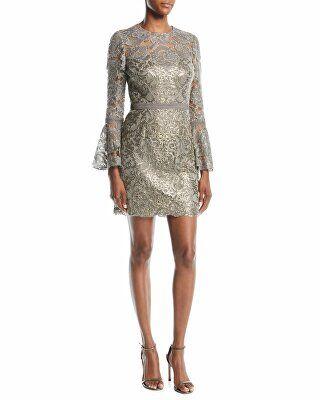 Tadashi Shoji Designer Somerset Sequin Lace Dress W Bell