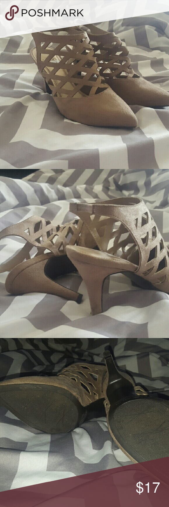 Faux suede heels Used faux suede taupe heels.  This heel is pretty low maybe 3 inches,  which makes them extremely comfortable!. Very cute shoe, the brand is impo.  Used but very minimal wear. There is a small black for on inside left shoe.  Please see pics,  other than that.  Very good condition. Shoes