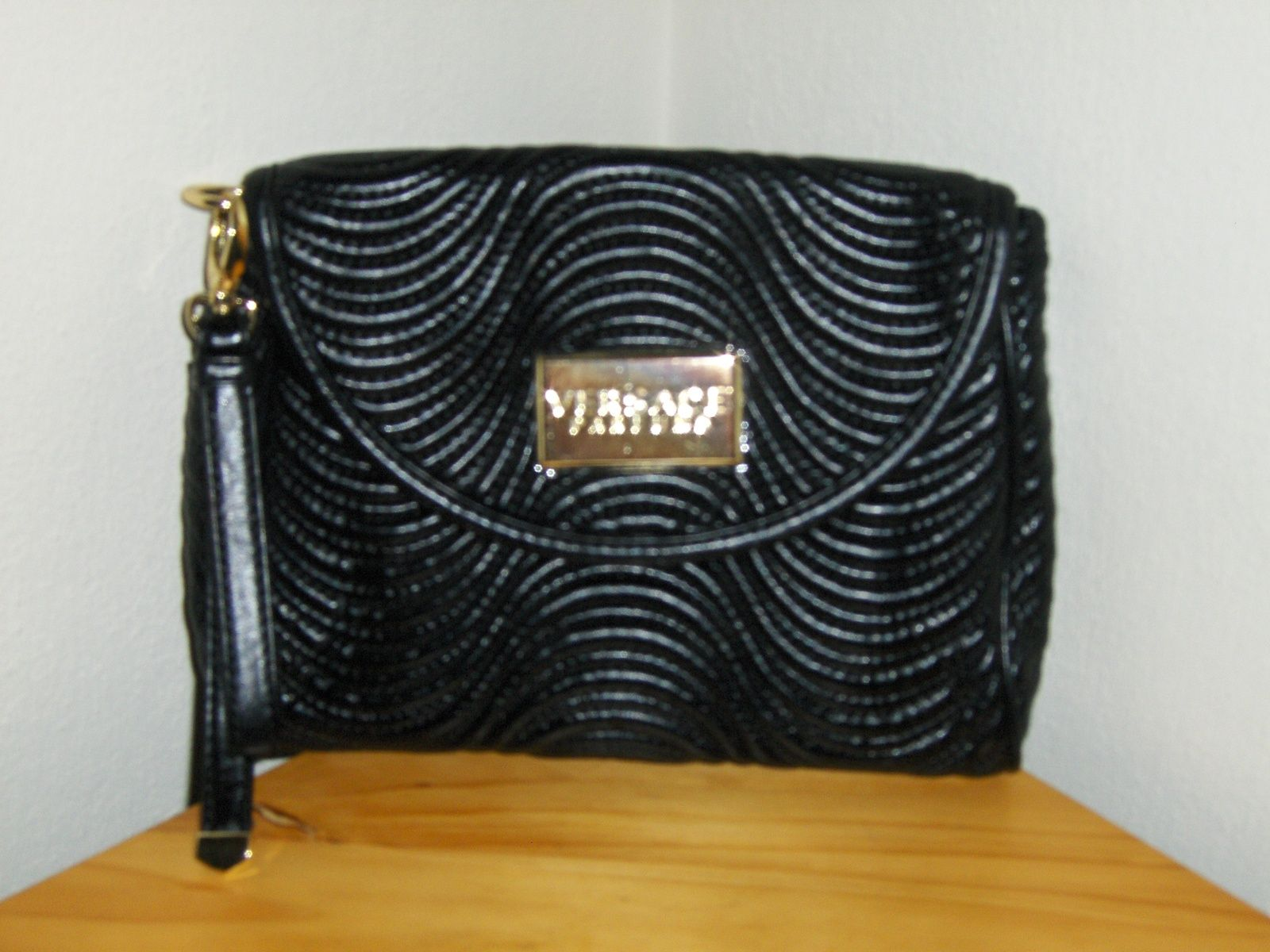 6158ec8d38 Versace Parfums Black Beauty Cosmetic Bag Clutch Bag Purse Wristlet Makeup  Tote