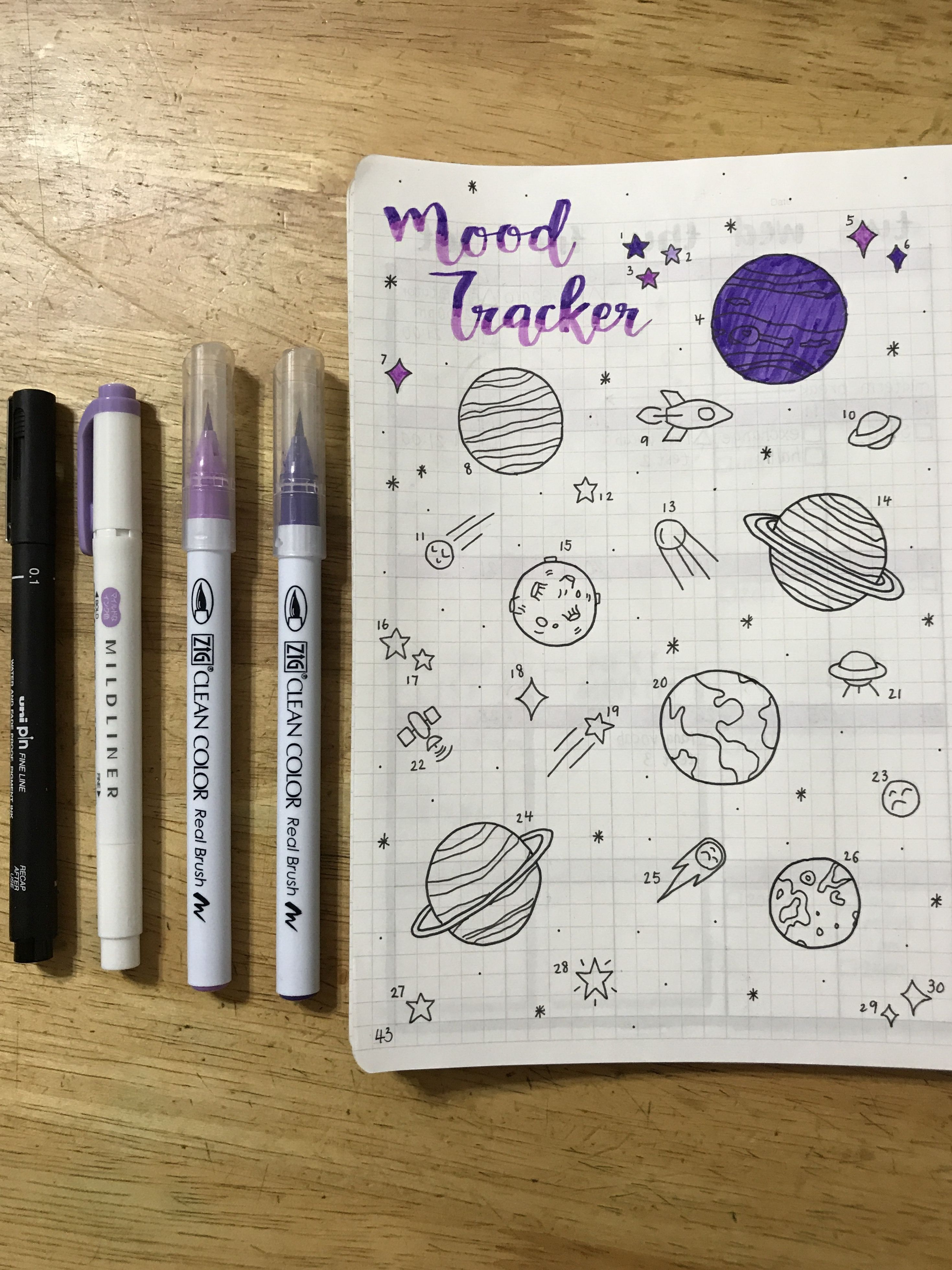 Bullet Journal Mood Tracker Space Galaxy Purple
