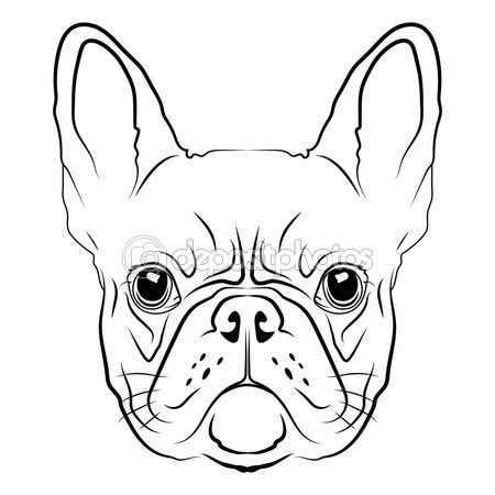 French Bulldog head — Stock Illustration #81133566   Frenchies ...