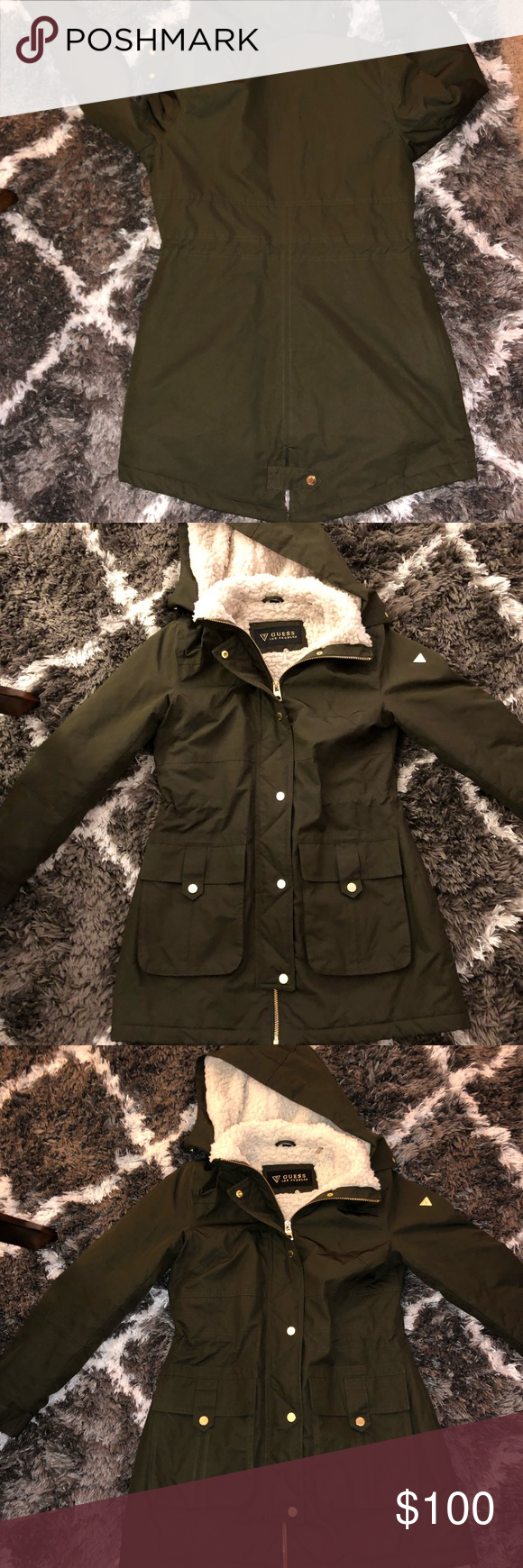 sold worldwide terrific value favorable price Guess Los Angeles Winter Coat Olive green Guess Los Angeles ...