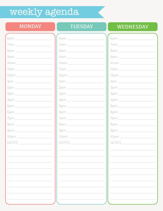Weekly Agenda Printable  Organization Printables