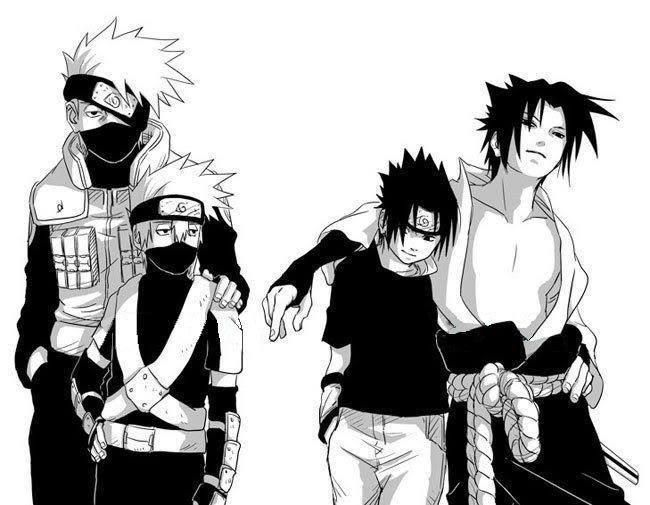 "Older Sasuke is all like ""F-yeah"" and his younger self is like ""Kakashi-sensei.... help.... I need an adult."" And then Older Sasuke is just ""Psh, I am an adult."""