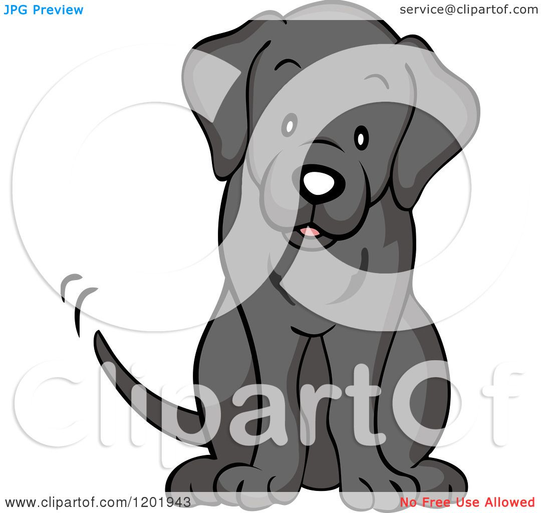 Cartoon Of A Cute Black Labrador Dog Sitting And Wagging His Tail Royalty Free Vector Clipart By Cartoon Charac Black Labrador Dog Black Labrador Dog Sitting