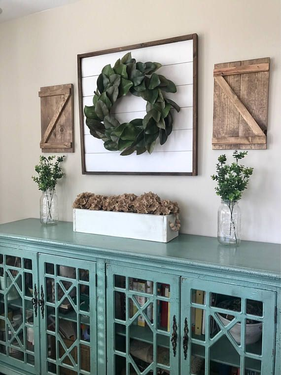 Pair of small decorative z wood shutters rustic shutters - Decorative interior wall shutters ...