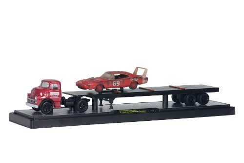 M2 Machines 1:64 scale Auto-Hauler Flatbed '57 Dodge COE with '69 Dodge Daytona Red Race Car by M2 Machines. $14.99. Variety of trailers includes classic vintage box car trailer, flat bed with classic car, classic car haulers with car and built in ramp, or custom car haulers with car and built in ramp. Authentic heavy duty semi-truck rims and tires. Jeweled headlights. Separate chrome bumpers. From the Manufacturer                Our passion driven obsession for quality and d...