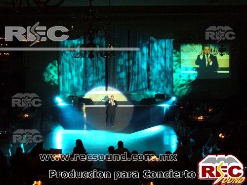 Producción integral para conciertos contamos con audio, video , iluminación, mobiliario, escenografía, ground support, plantas de luz, gradas, vallas de contención  .  www.recsound.com.mx