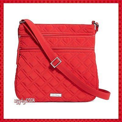 f62d9daf9f1 NEW Vera Bradley Microfiber Triple Zip Hipster in Tango Red ...