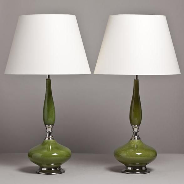 Talisman A Tall Pair Of Green Glazed Ceramic Table Lamps USA 1960s