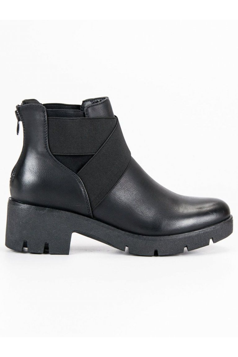 Módne topánky čierne čižmy s hrubou podrážkou CnB  6980c52fb47