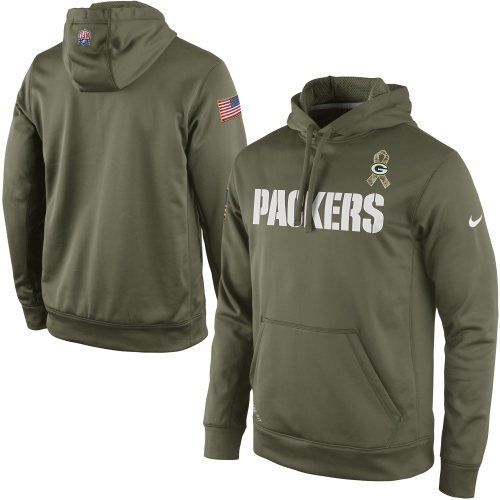 541c75224c7 Nike Green Bay Packers Salute to Service KO Pullover Performance Hoodie -  Olive