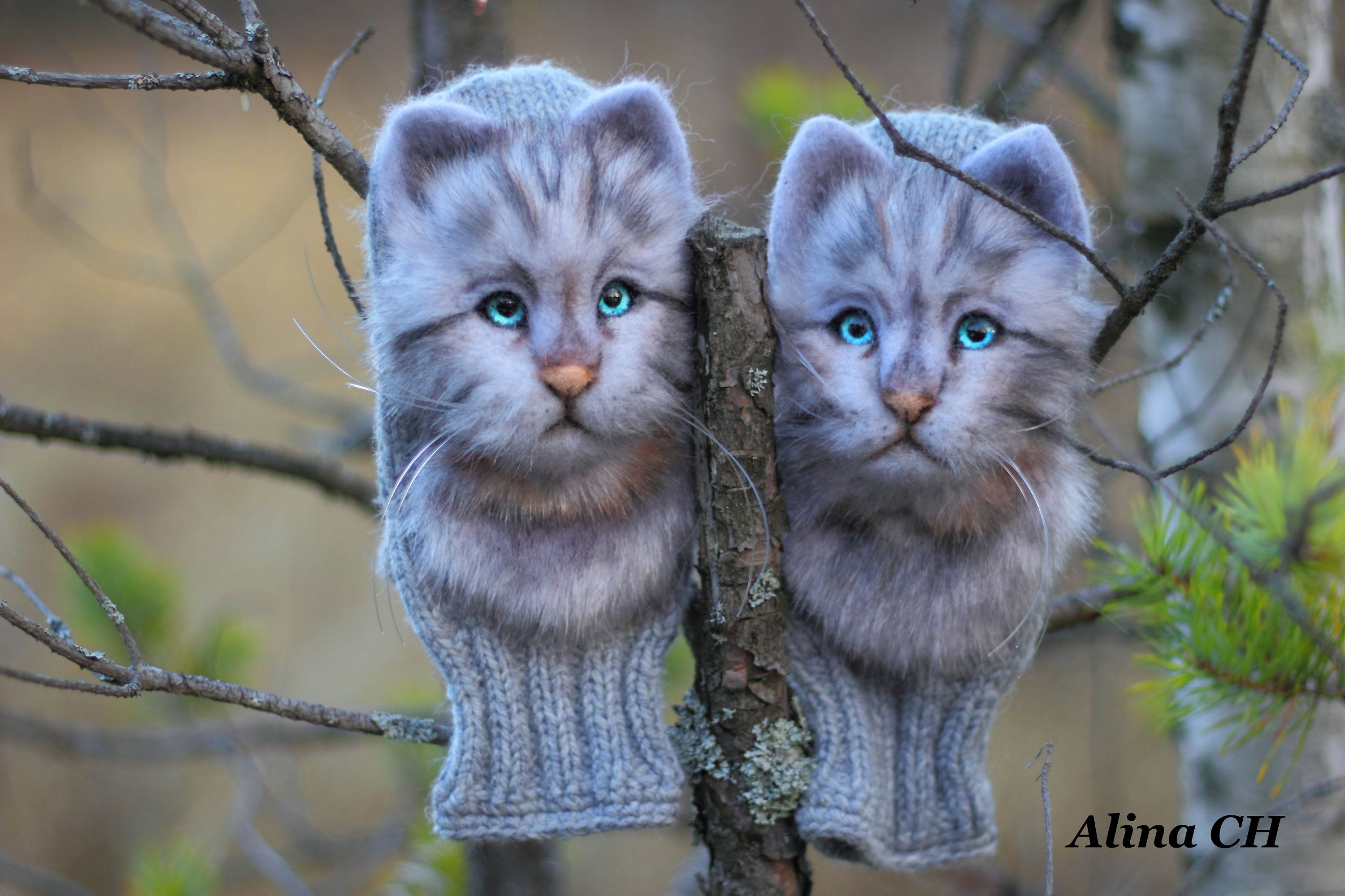 Made To Order Winter Mittens With Kittens From Wool Winter Gloves Women S Mittens Gift To Sister Daughter Han Wool Mittens Winter Mittens Women S Mittens