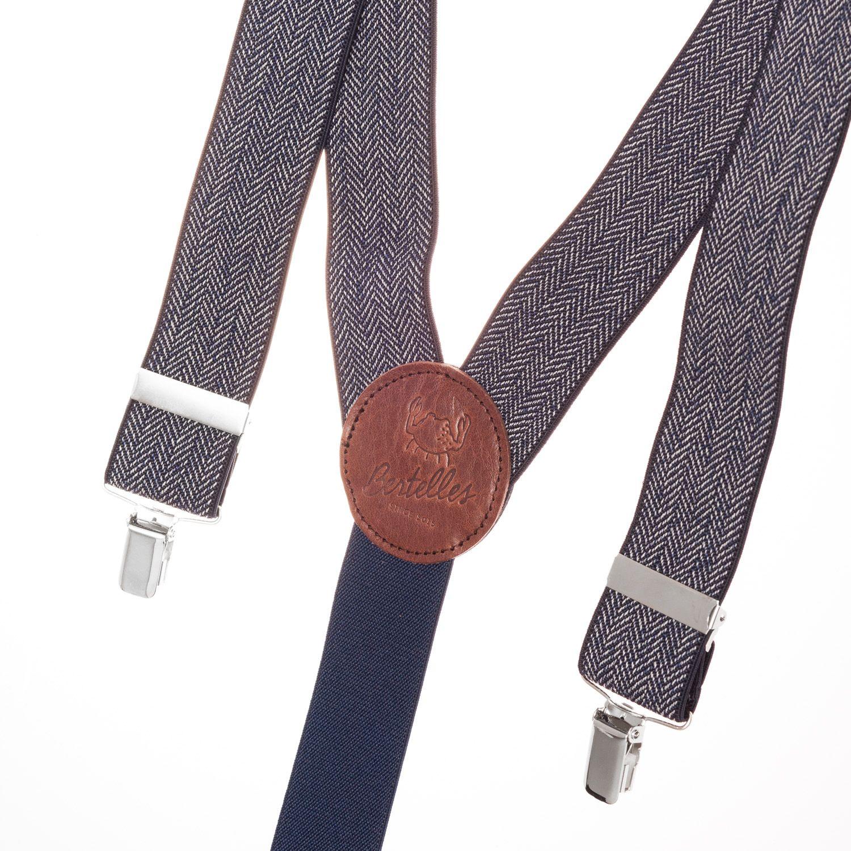 Bretelles Larges Chevron bleu marine Chevron Navy Large Blue Suspenders  Bertelles   http://www.lecolonelmoutarde.com/fr/bretelles/bretelles-chevron-bleu-marine-35-mm-501.html