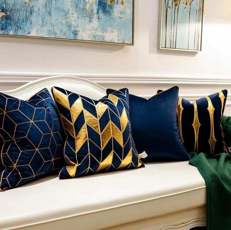 Deep Blue Pillow Case Living Room Cushions Blue And Gold Bedroom Blue Living Room Decor #pillowcases #for #living #room