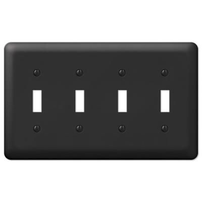 Amerelle Declan 4 Gang Toggle Steel Wall Plate Black 935t4bk The Home Depot In 2020 Plates On Wall Wall Plate Cover Steel Wall