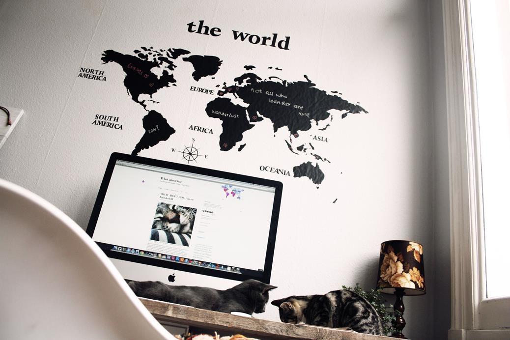 Muursticker Wereldkaart Krijt