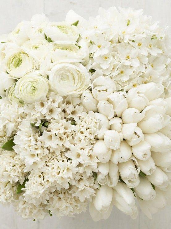 White hyacinth, tulips & ranunculus | Easter & Spring ❤ | Pinterest