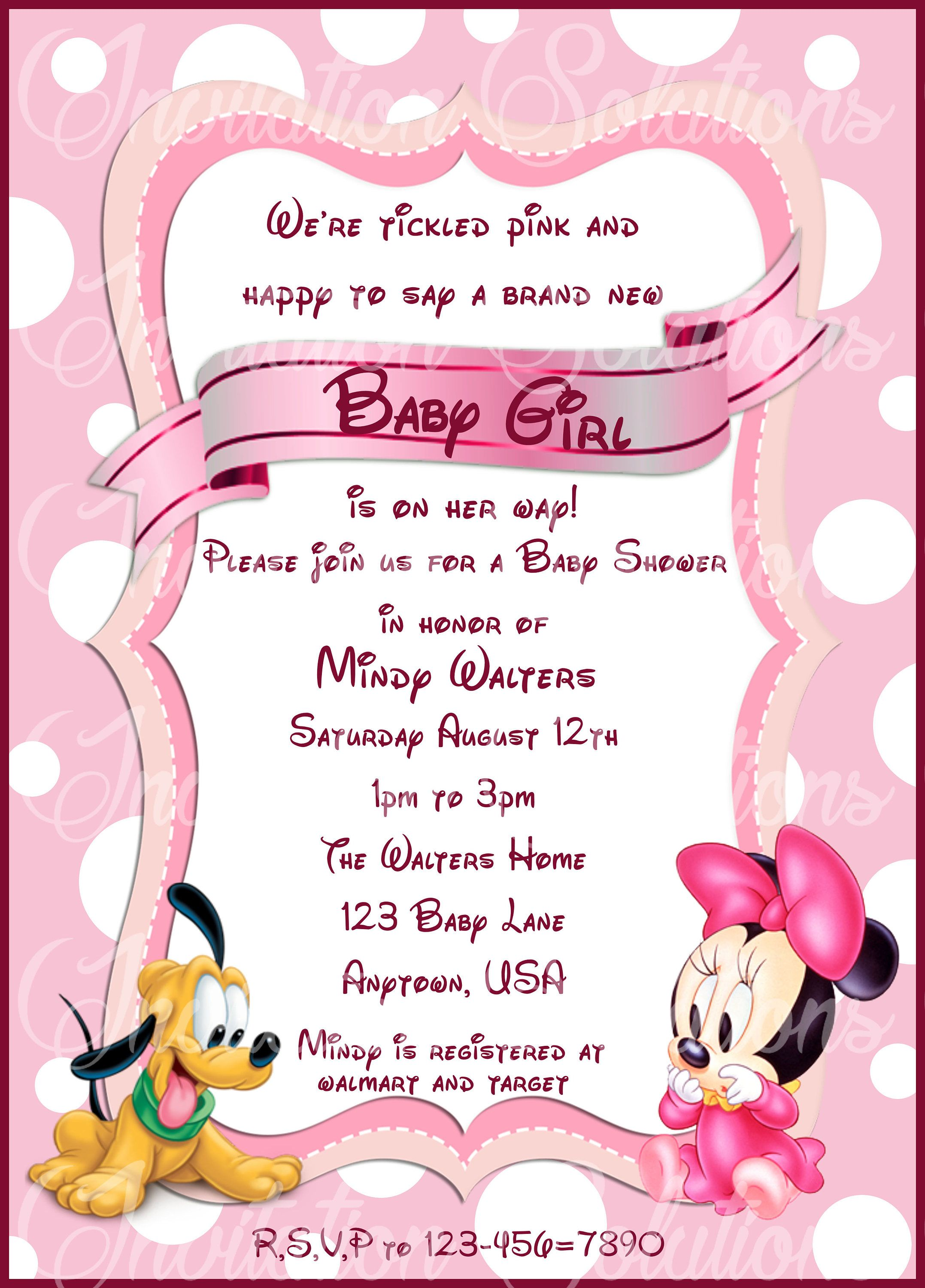 Baby Girl Invitation Minnie Baby Girl Pink Minnie Mouse Baby Shower
