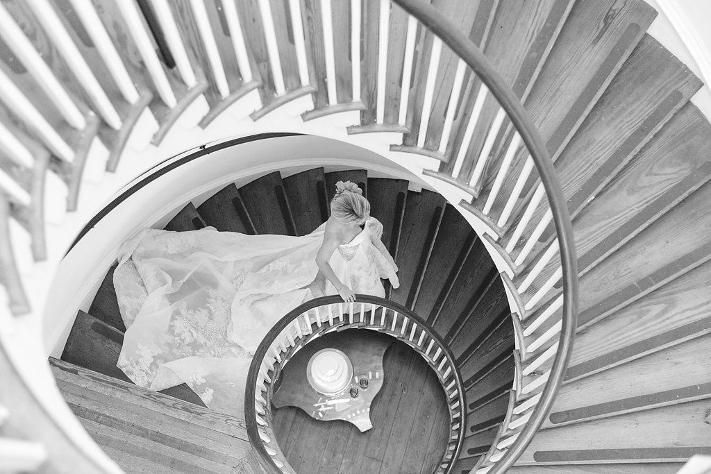 Best Bride Walking Down Spiral Staircase With Long Bridal Train 400 x 300