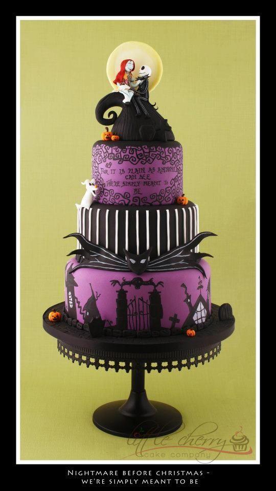 Nightmare Before Christmas Wedding Cake ~ Black Cherry Cake Company ...