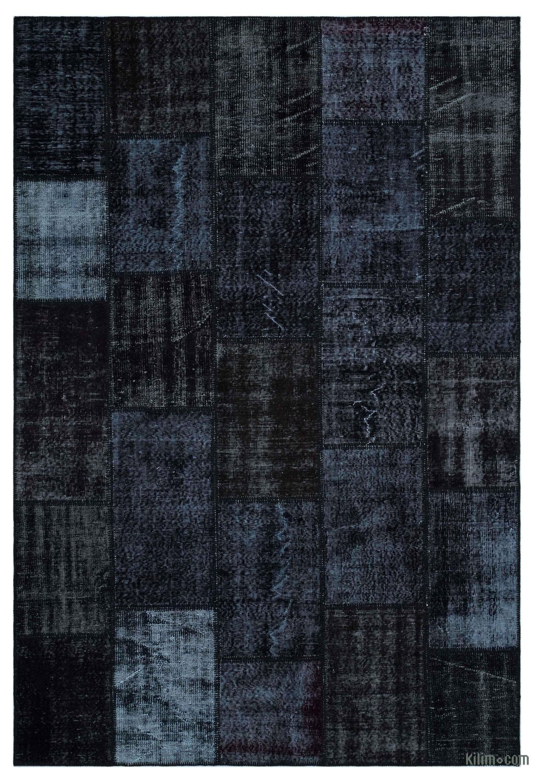Black Over Dyed Turkish Patchwork Rug
