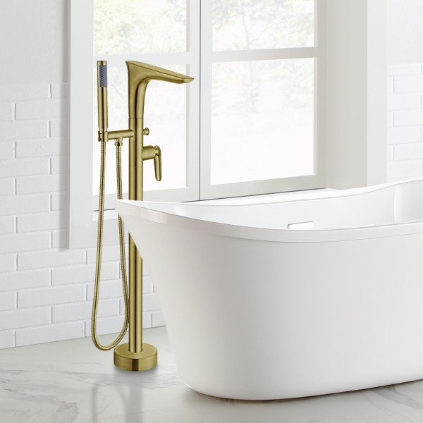Modern Freestanding Tub Faucet Floor Mounted Tub Filler Swivel