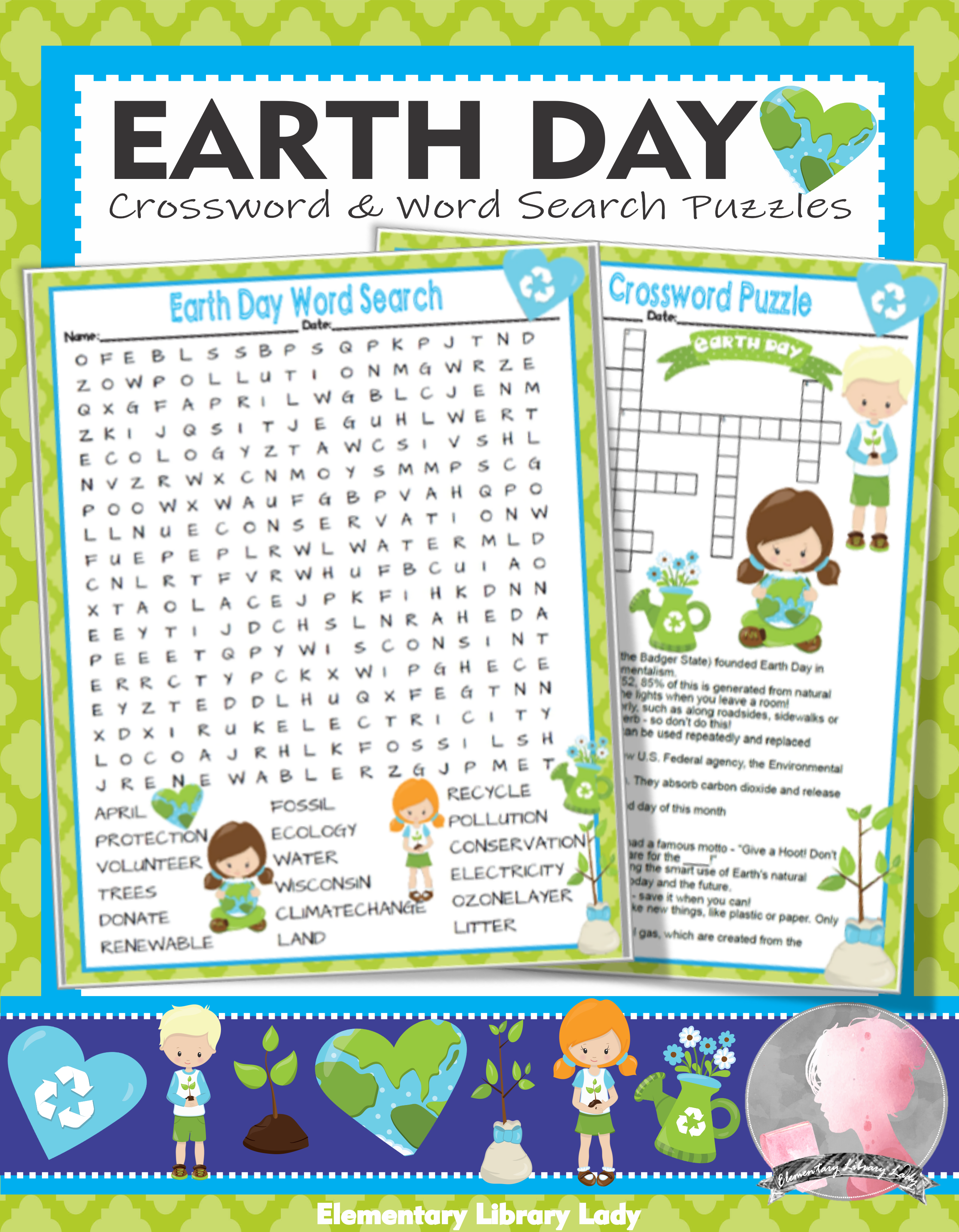 Earth Day Activities Crossword Puzzle And Word Searches In