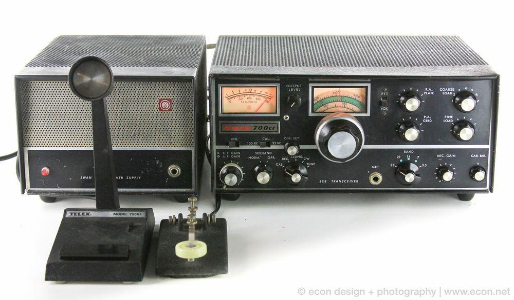 Vintage Swan 700cx Ssb Ham Radio Transceiver 117xc Speaker Psu Microphone Key Radioaficion Radios Retro
