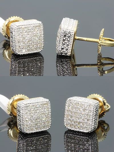 Earrings Studs 14085 34 Carat Yellow Gold Finish Mens Womens 8 Mm 100 Real Diamond