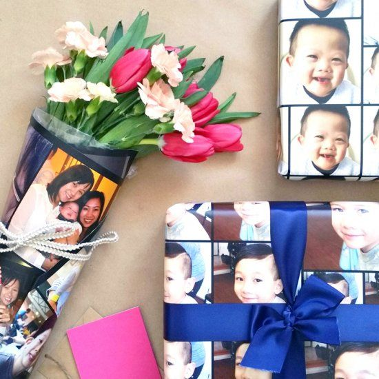 Create your own photo gift wrap showcasing the special people for that special mom in your life!!