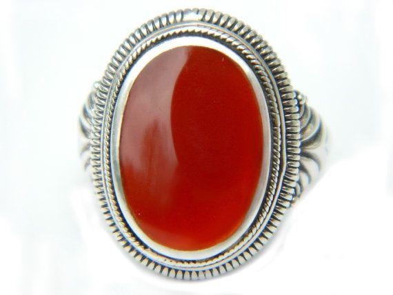 Autumn Orange Red Carnelian Ring 925 Vintage Stone Jewelry