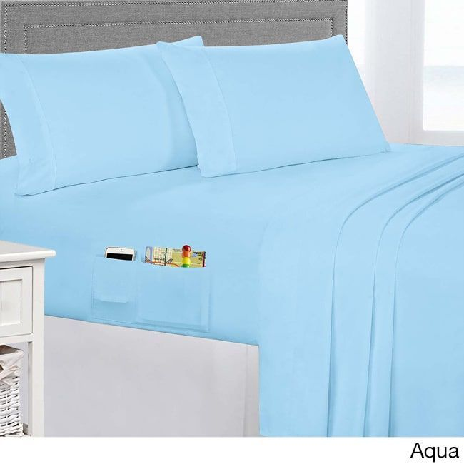 Extra Soft Brushed Bed Sheet Set With Side Storage Pockets