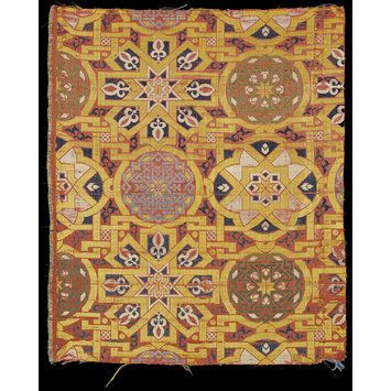 Lampas silk  Place of origin: Spain (made)  Date: 14th century (made)  Materials and Techniques: Silk thread in lampas weave  Museum number: 1312-1864