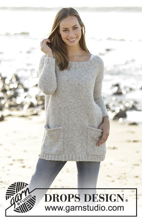 Jumper with round neck and pockets in DROPS Air. Sizes S - XXXL ...