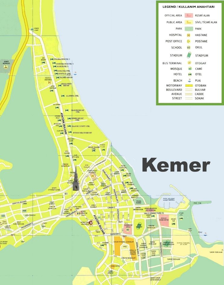 Kemer hotels and sightseeings map Maps Pinterest