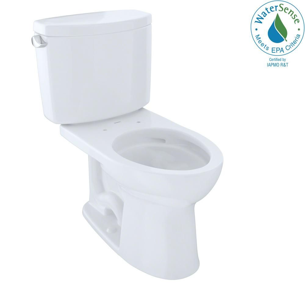 Toto Drake Ii 2 Piece 1 28 Gpf Single Flush Elongated Toilet With Cefiontect In Cotton White Cst454cefg 01 The Home Depot Toto China Toilet Toilet For Small Bathroom