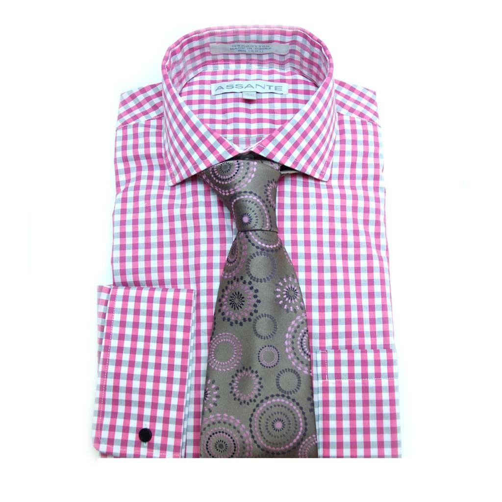 Assante Pink Gray Gingham Check Spread Collar Shirt - Suit Yourself Menswear & Custom Apparel