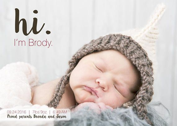 Newborn Announcements, Baby Announcement Card ,Baby Girl