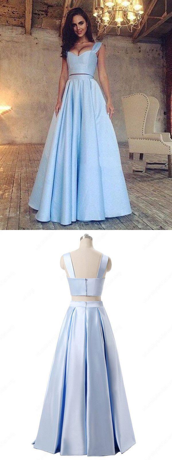 Two piece prom dress modest beautiful simple cheap long prom dress