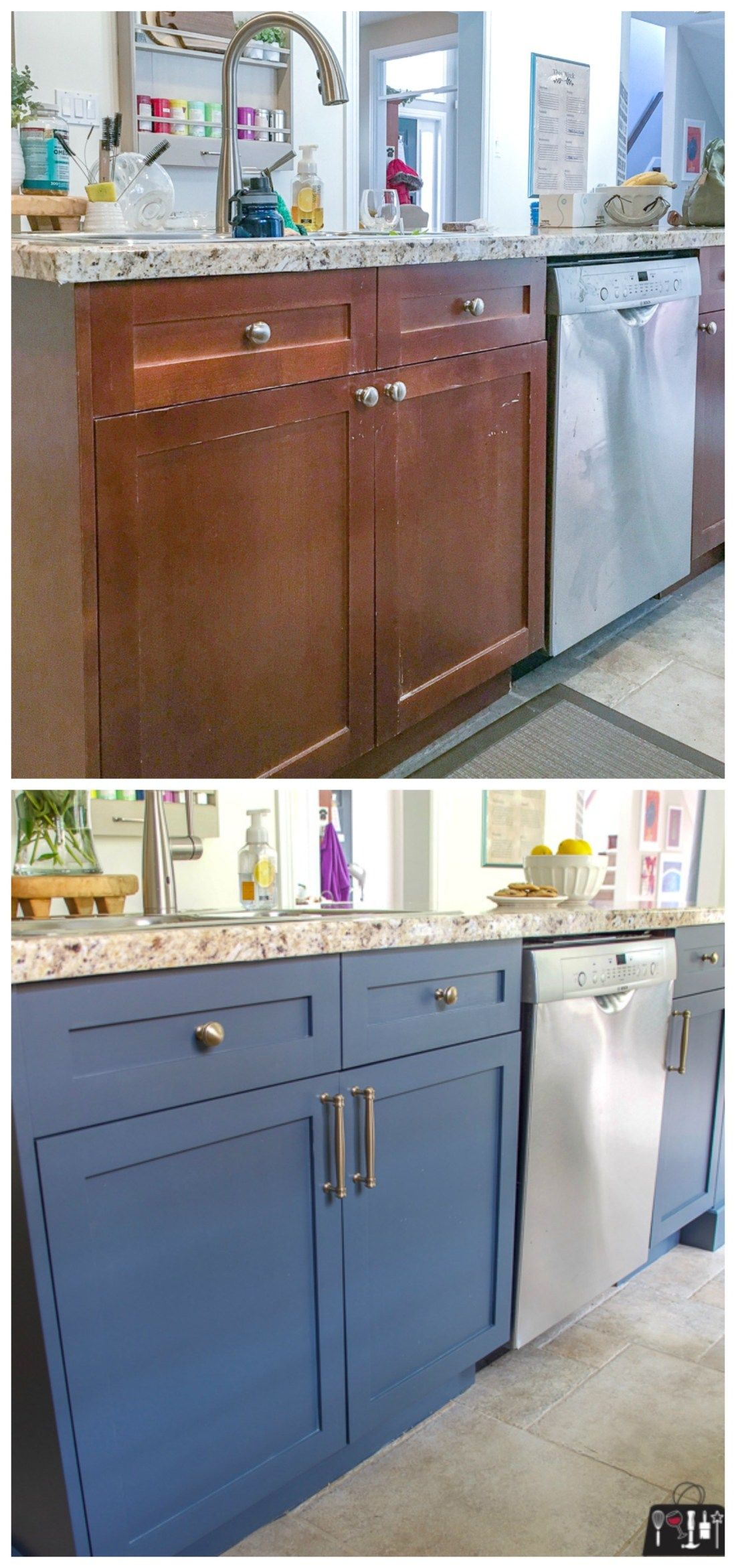 Kitchen Makeover on a Budget - Budget kitchen makeover, Kitchen diy makeover, Kitchen renovation, Painting kitchen cabinets, Kitchen cabinets makeover, Kitchen on a budget - Craving a new kitchen but a remodel or overhaul isn't in the budget  Join the club my friends  but check out the stunning kitchen makeover I did with just a few hours work, a RustOleum Cabinet Transformation Kit and some stunning new hardware!