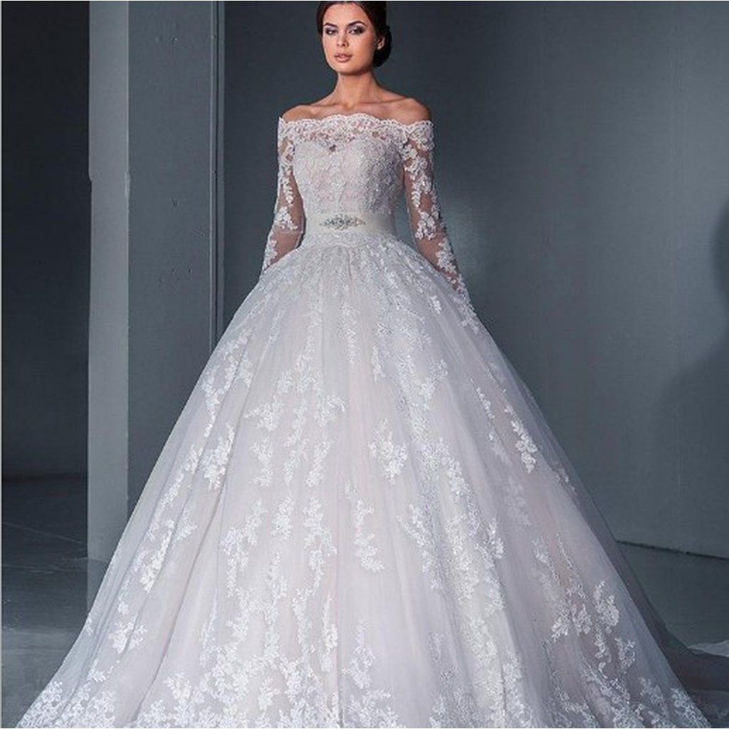 New aword shoulder long sleeves lace long tail wedding dress