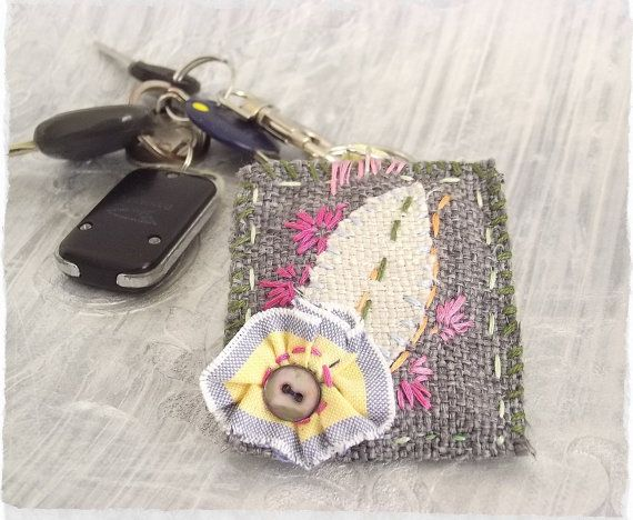 Shabby chic embroidered keychain Handmade by sewingfairydust