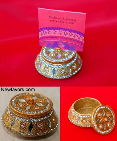 See These Golden Lac Box Cardholder And Trinket Wedding Favor With Beadirror Hand Made In India A Traditional Indian Design