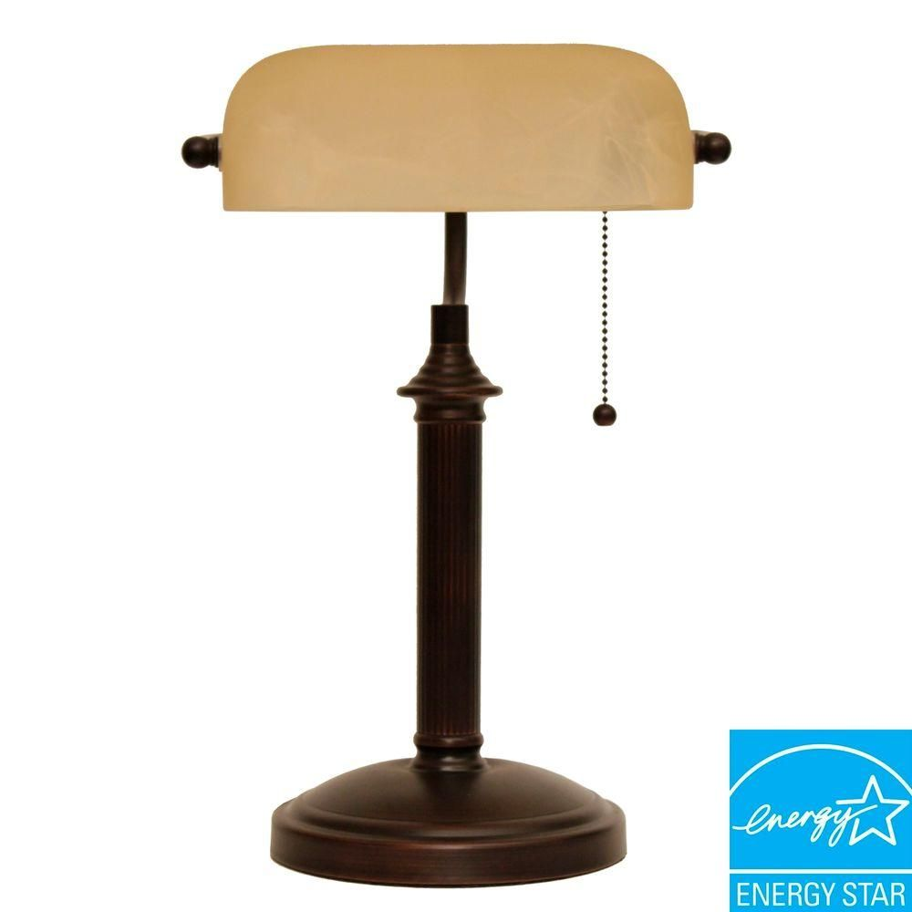 Hampton bay 15 in oil rubbed bronze bankers lamp with pull chain