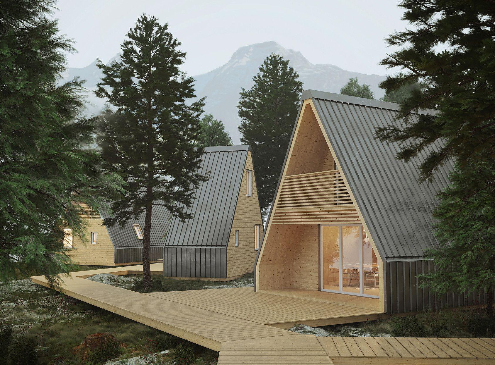 Ein Fertighaus Zum Aufklappen Diese Art Von Fertigem Blockhaus Kommt Aus Italien Fertighauser Architektur Moderne Architektur