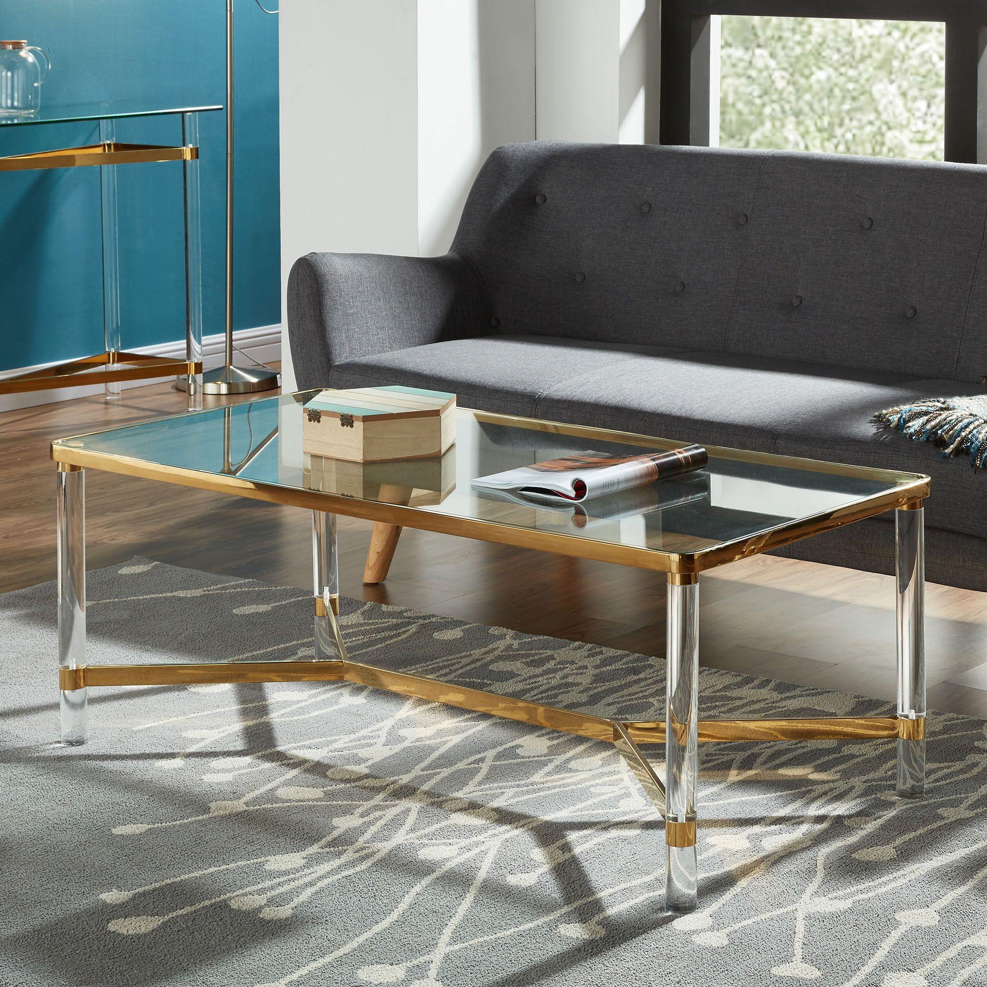 Morelia Mixed Media Metal Glass and Acrylic Coffee Table
