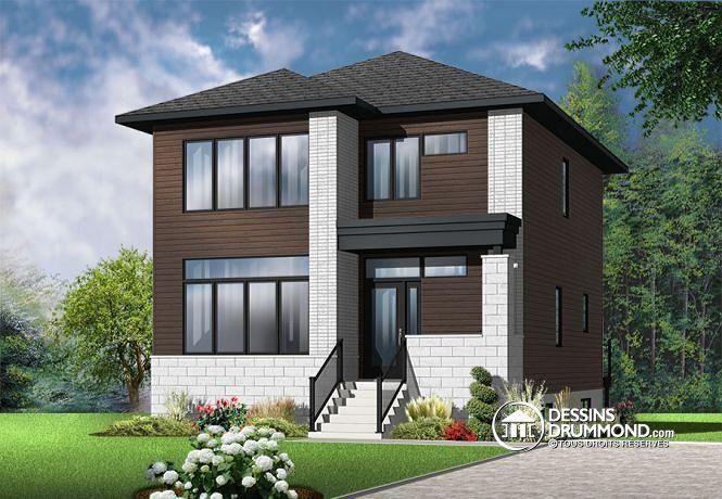 W3710-V1 - Plan de maison moderne, 3 chambres, grand vestibule - Plan Maison Moderne  Chambres
