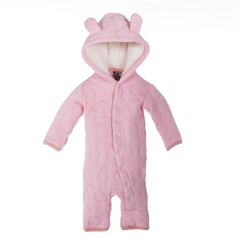 Quilted Hoodie Coverall with Sherpa-Lined Hood in Lotus with Blush Trim