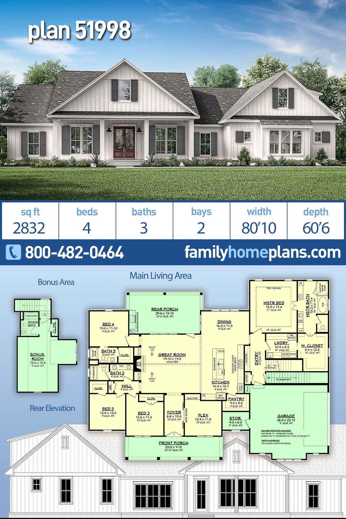 Southern Style House Plan 51998 with 4 Bed, 3 Bath, 2 Car Garage